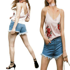 1X Blouse Satin embroidery Backless V neck Camisole Streetwear women tops New
