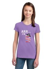 Arr I'm 5 Pirate Birthday Party Five Years Old Girls' Fitted Kids T-Shirt Funny
