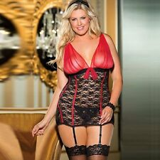 Women Patchwork  Sexy Babydolls Plus Size Sexy Lingerie with G-string Garter