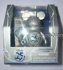 """D23 Expo Disney 25th Vinylmation 3"""" Silver Mickey with Le Pin Box Set"""
