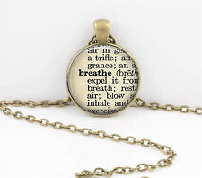 Breathe Dictionary Word Pendant Necklace Jewelry or Key Ring