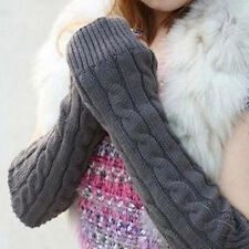 Womens Mens Long Knitted Crochet Fingerless Braided Arm Warmer Gloves Hot Trendy