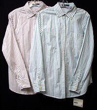 LIZ CLAIBORNE L/S Cotton Button-Down Striped Blouse-Wht/Rose, Wht/Blue-NWT-$59