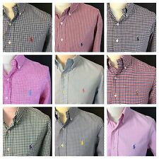 Mens Ralph Lauren Gingham Checked Shirt Collection White Blue Pink Red S M L XL