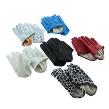 1 Pair Women's Cool Five Finger Half Palm Faux Leather Soft Gloves Mittens Witty