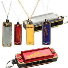 Swan Mini 4 Holes 8-Tone Harmonica Necklace for Children Golden Sliver Red Blue
