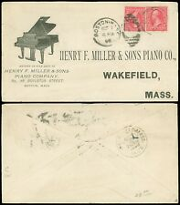 1898 Boston, HENRY F MILLER & SONS PIANO CO Illustrated Advert Cover, SC #267 x2