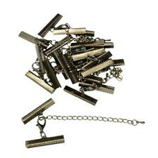 12pcs 30 x 6mm Ribbon Clip Clamps Silver Gold Plated Tips Cord Ends Beads Clasps