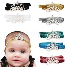 Lovely Infant Baby Girl Pearl Crystal Crown Headband Gillter Hair Band Accessory