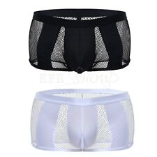 Adult Men's Sheer Mesh Underwear Low Rise Fishnet Boxer Brief Summer Cool Trunks