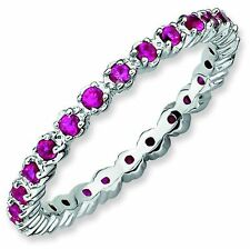 Ruby 2.25mm Prong-Set Eternity Band Sterling Silver Stackable Ring