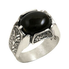 STERLING 925 SILVER HANDMADE MENS JEWELRY & BLACK AGATE-AQEEQ MENS RING