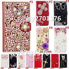 Crystal Bling Luxury Diamonds PU Leather wallet flip Slots Magnetic Cover Case 4