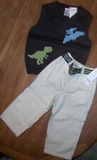 Pant Set Khaki Gymboree 2pc 6-12 month Brown Dinosaur Sweater Vest Boy NEW