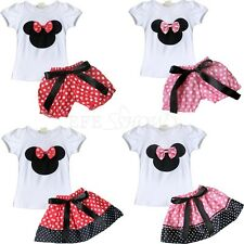 Cartoon Minnie Mouse Bowknot T-Shirt Tops+Skirt/Shorts Outfit Set for Baby Girls