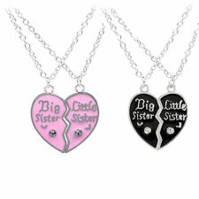 Fashion Female BFF Big Little Sister Puzzle Heart Crystal Necklace Pendant Gift
