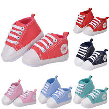 Newborn Baby Kids Boys Girls Soft Sole Casual Canvas Sneaker Toddler Shoes