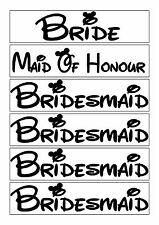 Set of 6 Hen party iron on vinyl Disney t shirt transfers bride bridesmaid