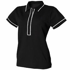 Ladies/Womens  Skinni Fit  STRETCH Contrast Piped  Polo Shirt SK048