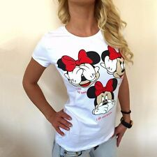 Fashion Women Cartoon Mickey Mouse White Short Sleeves Top T-Shirt Blouse