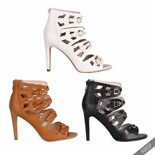 Women Ladies Cut Out High Heel Open Peep Toe Ankle Boots Gladiator Sandals Shoes