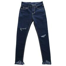 Women's Washed Denim Pockets Joggers Jeans Cigarette Pants Ripped Ankle Fringes