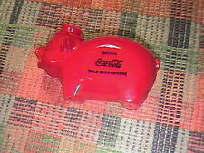 VINTAGE RED PLASTIC ADVERTISING DRINK COCA COLA PIGGY BANK !!