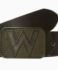 "Wrangler ""W Buckle"" Cut to Fit Belt in Black Leather in Size XS to XXXL"