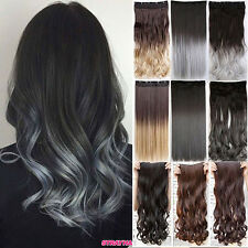 Thick 100% Real Clip In Hair Extensions Long Curly One Piece Ombre Full Head P52