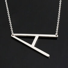 Initial A ~ Z Letter Alphabet Pendant Charm Necklace Silver Stainless Steel Tone