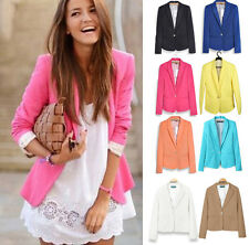 Stylish Women's Candy Color Foldable Sleeve Slim Casual Suit Blazer Jacket Coat