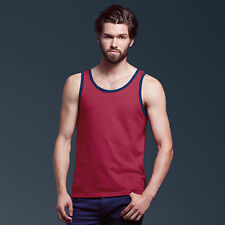 Mens Anvil Semi-Fitted Basic Fashion Tank Vest 986 Ringspun Cotton Gym Casual