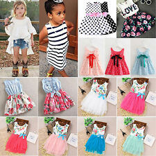 Kids Summer Floral Princess Dress Tops Baby Girls Sleeveless Party Prom Dresses