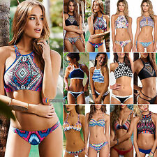 Womens High Neck Push Up Swimwear Bikini Summer Strap Swimsuit Padded Beachwear