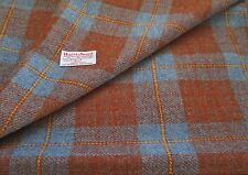 Harris Tweed Cloth Material BLUE /  BROWN CHECK £6.95 to £31.95 plus labels