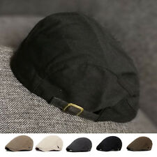 Women Mens Cotton Ivy Flat Cap Newsboy Beret Peaked Cabbie Gatsby Driving Hat UK