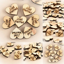 100PCS Cute Rustic Wooden Wood Love Heart Wedding Table Scatter Decor Crafts
