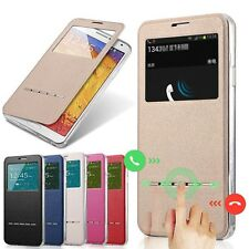 Slim Flip Window View Leather Smart Case Cover For iPhone Samsung LG Google  S