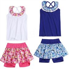 Baby Kids Girl Sleeveless Vest+Floral Tutu Skirt Culottes Shorts Outfit Play Set