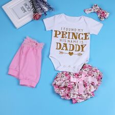 4Pcs Newborn Baby Girls Floral  Bodysuit + Bloomers Pants Summer Clothes Outfit