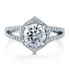 BERRICLE Sterling Silver Round Cut CZ Halo Engagement Split Shank Ring 2.6 Carat