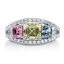 BERRICLE 925 Silver Asscher Canary Yellow CZ 3-Stone Right Hand Cocktail Ring