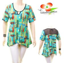 PLUS Size Western Boho Aztec Hippie Sharkbite Hem Mint Tunic Shirt Top 1X 2X 3X
