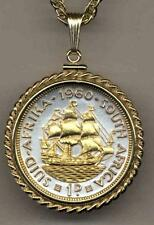 "South African Penny Silver & Gold Plated ""Ship""  24"" Coin Necklace"