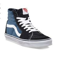 NEW! Vans Sk8-Hi Top Sneaker Skate Shoes Navy Blue Black White Canvas s1