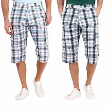 Menswear Cropped Check Print Summer Beach Holiday Cargo Trousers Pants Shorts