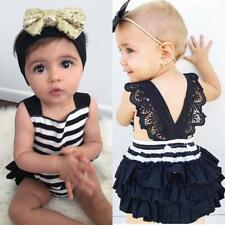 Cute Newborn Baby Girls Romper Bodysuit Ruffle Dress Photo Prop + Headband 0-24M