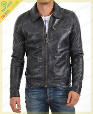 Men's Real Lambskin Black Leather Motorcycle Jacket Slim fit Biker Jacket AJ108