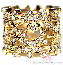 Beauty for Ashes® Cubic Zirconia Filigree Princess Gold Plated Crown Band Ring