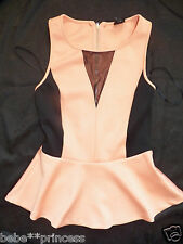 NWT bebe black coral ruffle peplum contrast mesh v neck dress top XS S M L